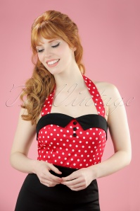 TopVintage exclusive ~ 50s Rudy Polkadot Halter Top in Red