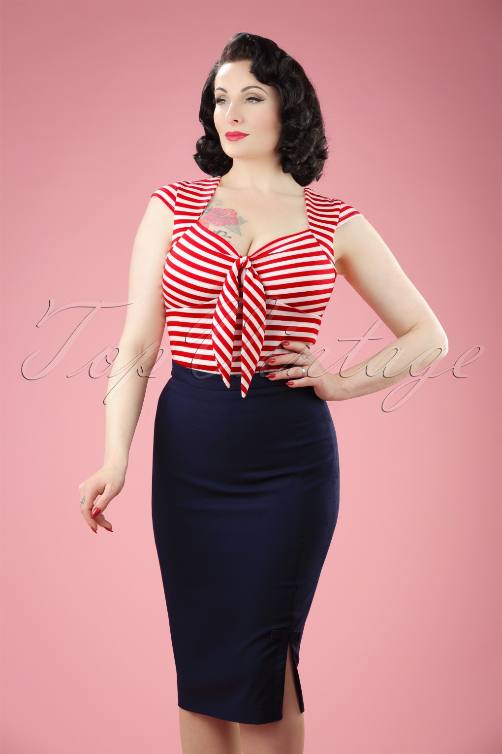 50 Vintage Halloween Costume Ideas 50s Ashcott Pencil Skirt in Navy £58.70 AT vintagedancer.com