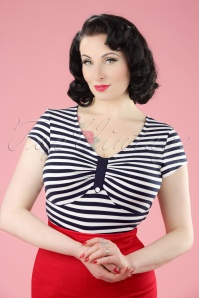 50s Marty Knit Stripes Top in Navy and White
