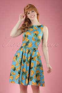 50s Tea Banana Swing Dress in Aqua Blue