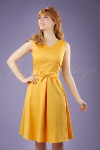 50s Aline Bow Dress in Honey Yellow