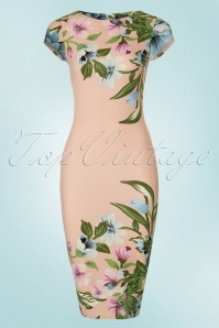 60s Aloha Tropical Garden Short Sleeves Pencil Dress in Nude