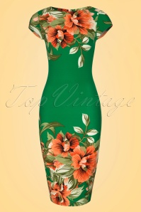 Vintage chic 60s Aloha Green Dress 100 49 20887 20170418 0001W