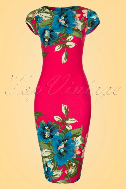 Vintage chic 60s Alhola Hot Pink Dress 100 29 20888 20170418 0001W