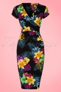 Vintage chic Waterfall Crepe Black Flower Dress 100 14 21860 20170418 0002W