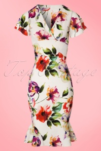 50s Peggy Floral Waterfall Pencil Dress in Ivory
