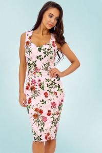 Vintage chic 60s Aloha Pink Pencil Dress 21956 20170418 01