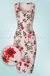 50s Veronica Floral Pencil Dress in Pink