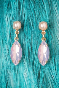 50s Navette Rosewater Opal Drop Earrings
