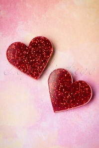 60s Love Is In The Ears Earrings in Red Glitter