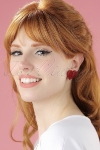 From Nic Love Red Glitter Heart Earring 001W