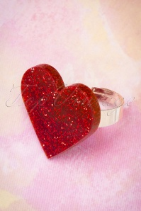 60s Love Me Tender Ring in Red Glitter