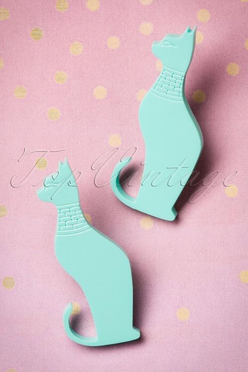 FromNicLove Teal Cat Earrings 330 32 21623 04202017 008W