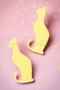 60s Egyptian Mau Cat Earrings in Pastel Yellow