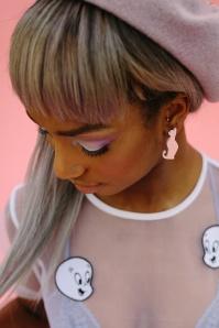 FromNicLove pink Cat Earrings 330 22 21622 04202017 model01