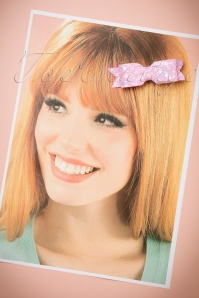 FromNicLove Small Pink Glitter Bow Hairclip 340 22 21618 04202017 012W