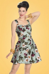 50s Tahiti Floral Mini Dress in Mint Green