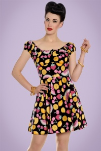 50s Shirley Tutti Frutti Mini Dress in Black