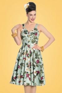 50s Tahiti Floral Swing Dress in Mint Green