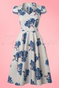 Bunny Lori 50s White Blue Floral Dress 102 59 21077 20170420 0014W