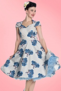 Bunny Lori 50s White Blue Floral Dress 102 59 21077 20170420 03