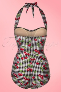Bettie Page  Black and White Checked Cherry Swimsuit 161 14 21861 20170424 0011W