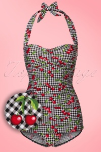 50s Cherry Gingham One Piece Swimsuit in Black and White