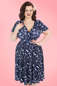 50s Lyra Nautical Seahorse Dress in Navy