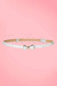50s Ocean Avenue Bow Belt in White