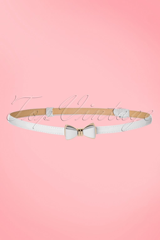 Vintage Wide Belts, Cinch Belts 50s Ocean Avenue Bow Belt in White £10.49 AT vintagedancer.com