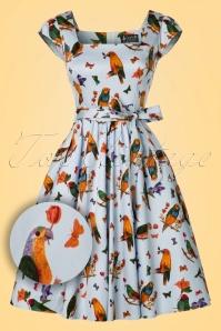 50s Love Birds Swing Dress in Light Blue