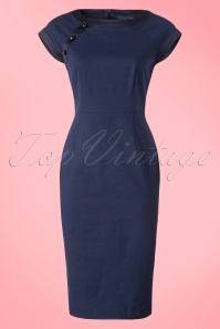 Collectif Clothing Nyoko Fishtail Dress in Navy 20793 20161129 0002W