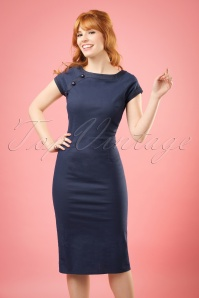 50s Nyoko Fishtail Pencil Dress in Navy