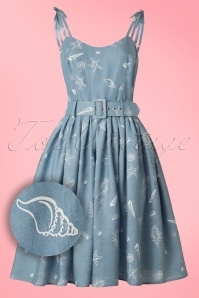 Collectif Clothing Jade Seashell Denim Swing Dress 20834 20161128 0021W1