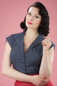 50s Lovely Day Polkadot Blouse in Navy and White