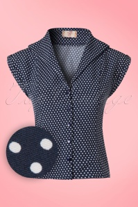 Dancing Days by Banned Lovely Day Navy Polkadot Blouse  112 39 20940 20170331 0007wv