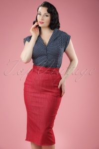 50s Nicky Lee Denim Pencil Skirt in Red