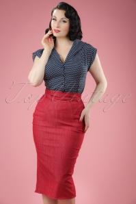50s Nicky Lee Denim Pencil Skirt in Red