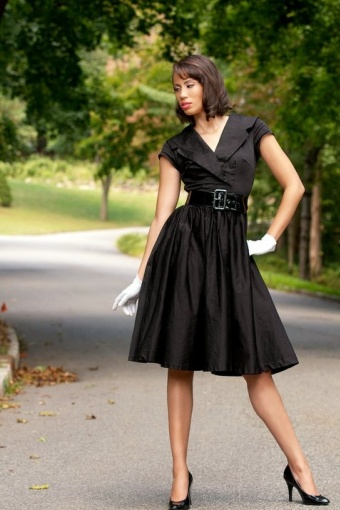 50s birdie black vintage dress. Black Bedroom Furniture Sets. Home Design Ideas
