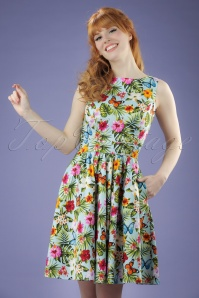50s Tea Summer Floral Swing Dress in Light Blue