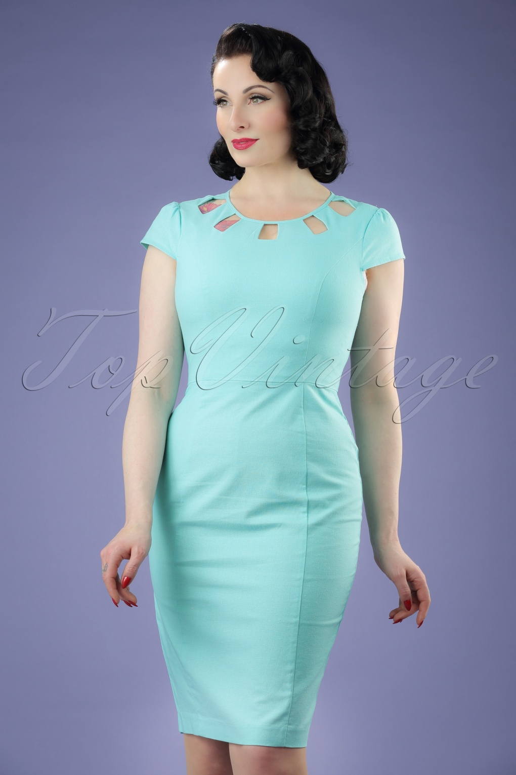 1960s Style Dresses- Retro Inspired Fashion 60s Kitty Pencil Dress in Light Aqua £56.42 AT vintagedancer.com