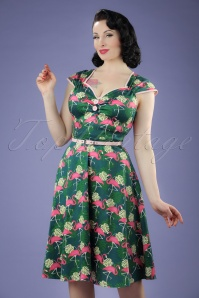 50s Isabella Fabulous Flamingo Swing Dress in Green