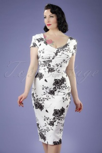 Vintage Chic Printed Pleated White Floral Pencil Dress 100 59 21334 20170403 0005W
