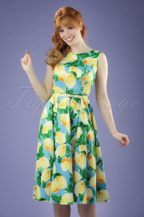 Lady V Hepburn Light Blue Lemon Swing Dress 102 39 21193 20170331 0011W