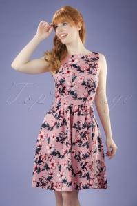 50s Tea Floral Swing Dress in Light Pink