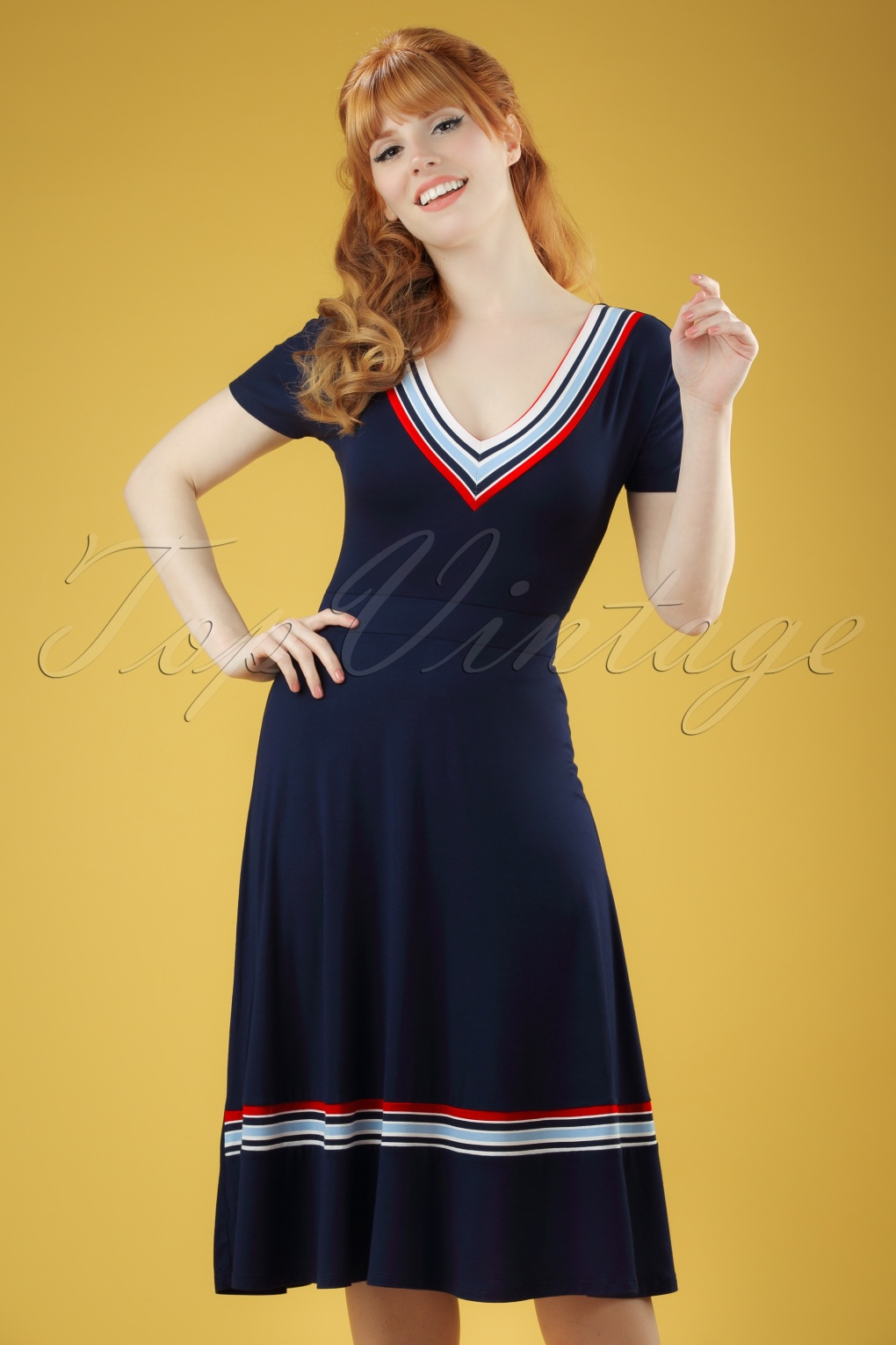 1960s Style Dresses- Retro Inspired Fashion 60s Toulon Dress in Navy £72.15 AT vintagedancer.com