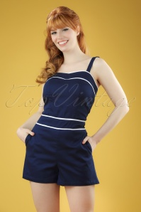 50s Summer Breeze Playsuit in Navy