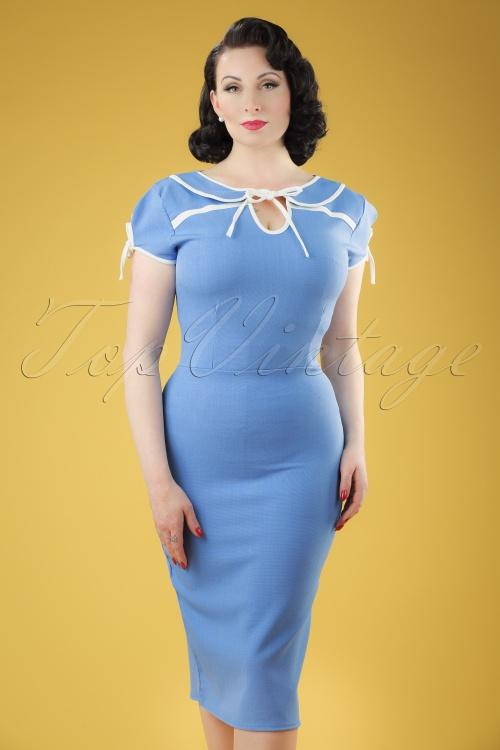 Vintage Chic Contrast Tie Blue Pencil Dress 100 30 20988 20170403 0008W
