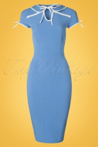 Vintage Chic Contrast Tie Blue Pencil Dress 100 30 20988 20170403 0004W