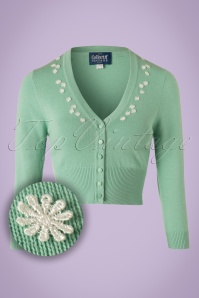 Collectif Clothing Jessica Daisy Cardigan in Antique Green 20637 20161130 0003W1